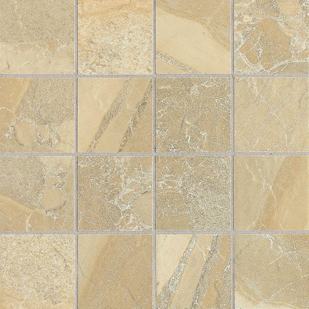 Daltile Ayers Rock Golden Ground 13 in. x 13 in. Glazed Porcelain Mosaic Floor and Wall Tile (1.2 sq. ft. / piece)