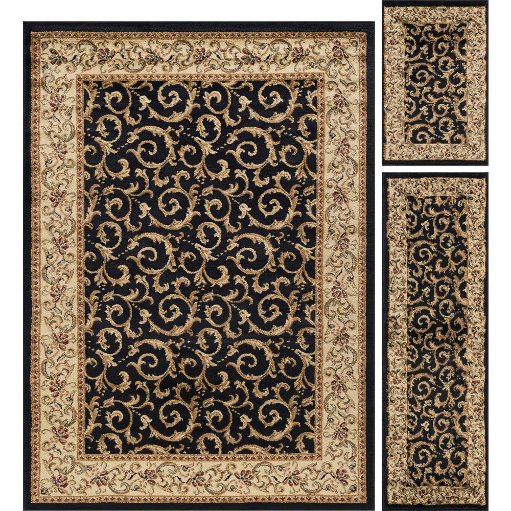 Elegance Black 5 ft. x 7 ft. 3-Piece Rug Set