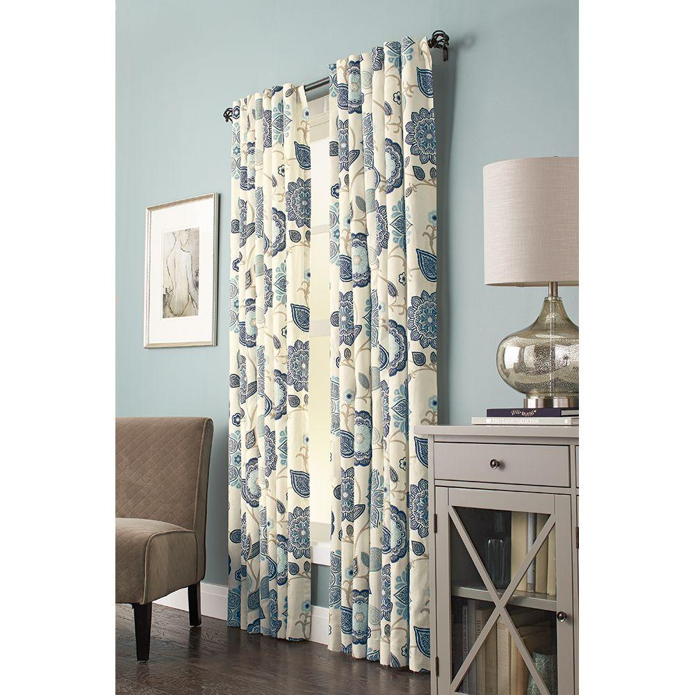 Semi-Opaque Indigo Floral Cottage Curtain Back Tab Curtain - 54 in.