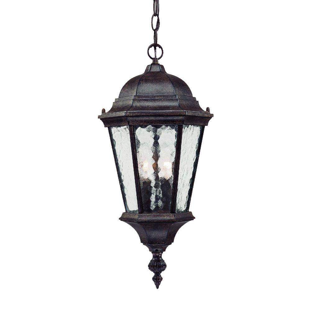 Telfair Collection 2-Light Black Coral Outdoor Hanging Light Fixture