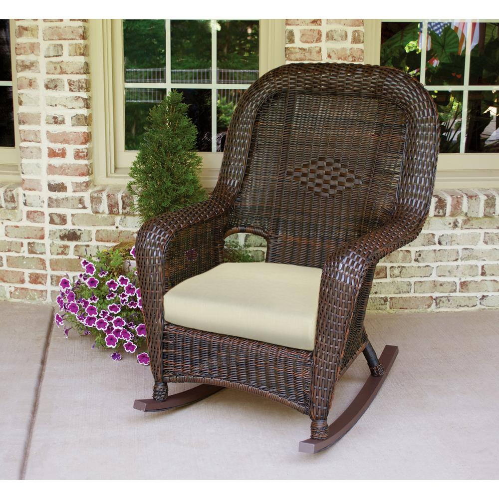 Tortuga Outdoor Sea Pines Java Wicker Outdoor Rocking Chair With Sunbrella Canvas  Canvas Cushion