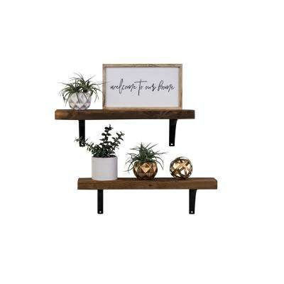 Industrial Grace Simple 5.5in x 24in x 7in Walnut Pine Wood Set of Two Floating Decorative Wall Shelves with Brackets