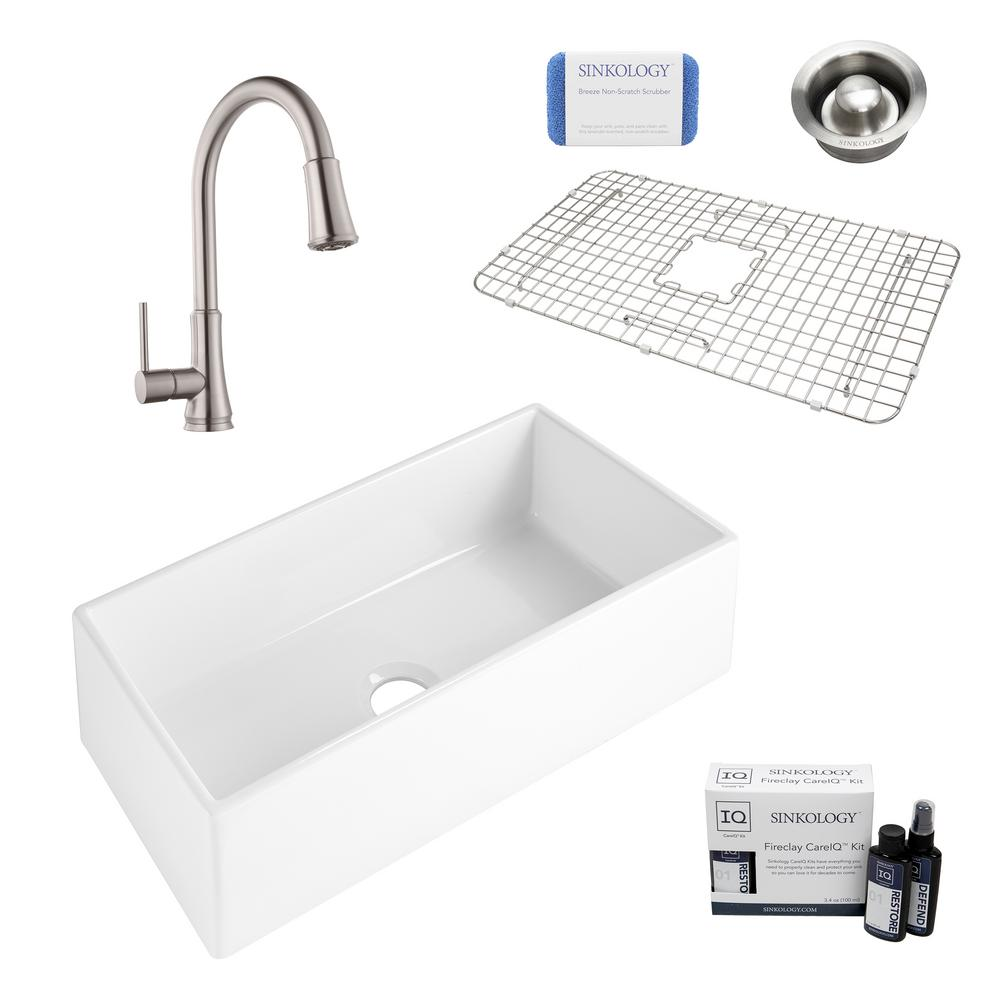 SINKOLOGY Harper All-in-One Farmhouse Apron Front Fireclay 36 in. Single Bowl Kitchen Sink with Pfister Faucet and Drain