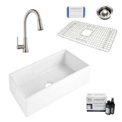 Harper All-in-One Farmhouse Apron Front Fireclay 36 in. Single Bowl Kitchen Sink with Pfister Faucet and Drain
