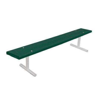 6 ft. Green Commercial Park Recycled Plastic Portable Bench without Back Surface Mount