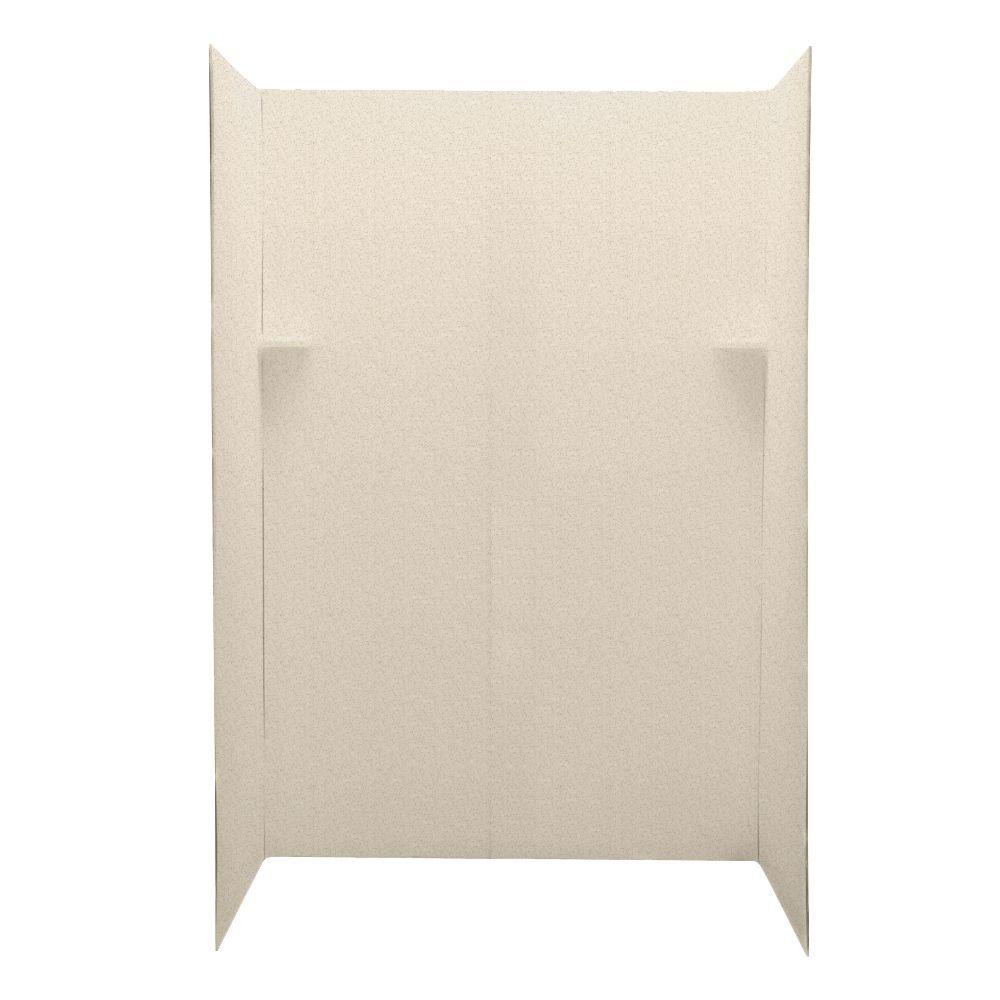 Swanstone Pebble 34 in. x 60 in. x 72 in. Five Piece Easy Up Adhesive Shower Wall Kit in Almond Galaxy-DISCONTINUED