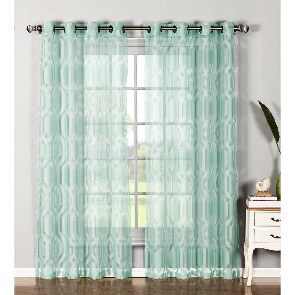 Window Elements Sheer Delta Cotton Blend Burnout Extra Wide 84 In L Grommet Curtain