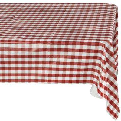 55 in. x 102 in. Indoor and Outdoor Red Checkered Design Table Cloth for Dining Table