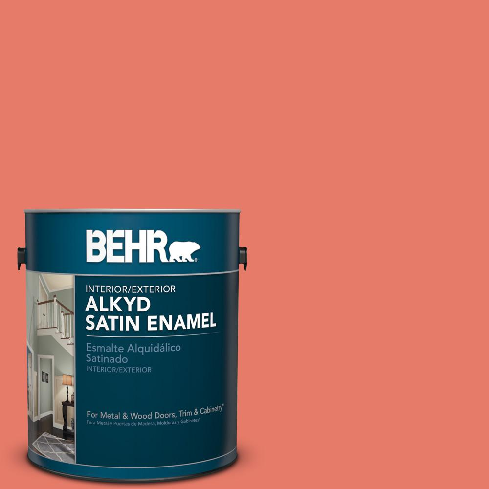 1 gal. #P180-5 Watermelon Slice Satin Enamel Alkyd Interior/Exterior Paint