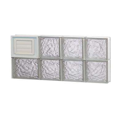 25 in. x 11.5 in. x 3.125 in. Ice Pattern Glass Block Window with Dryer Vent