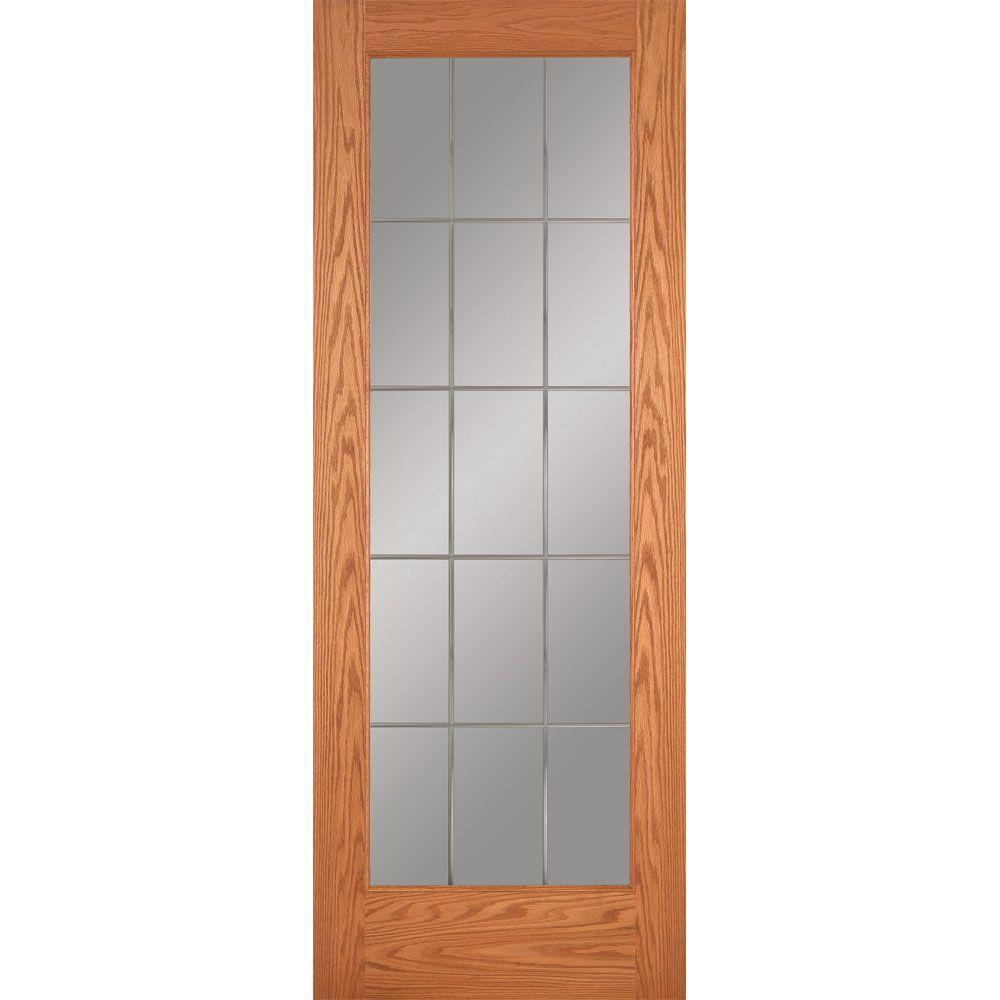 10 Lite Illusions Woodgrain Unfinished Cherry Interior Door Slab  sc 1 st  The Home Depot & Oak - 15 Lite - Slab Doors - Interior u0026 Closet Doors - The Home Depot pezcame.com