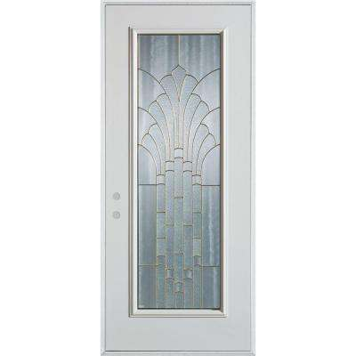 33.375 in. x 82.375 in. Art Deco Full Lite Painted White Right-Hand Inswing Steel Prehung Front Door