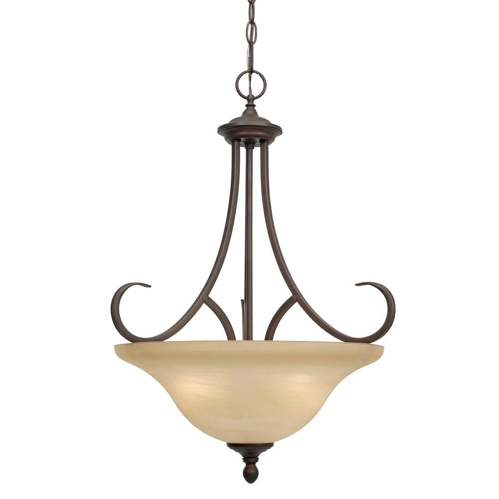 Golden Lighting Lancaster Collection 3 Light Rubbed Bronze Pendant