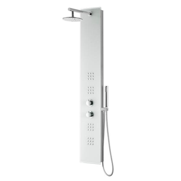 VELD Series 64 in. 2-Jetted Full Body Shower Panel System with Heavy Rain Shower and Spray Wand in Clear White