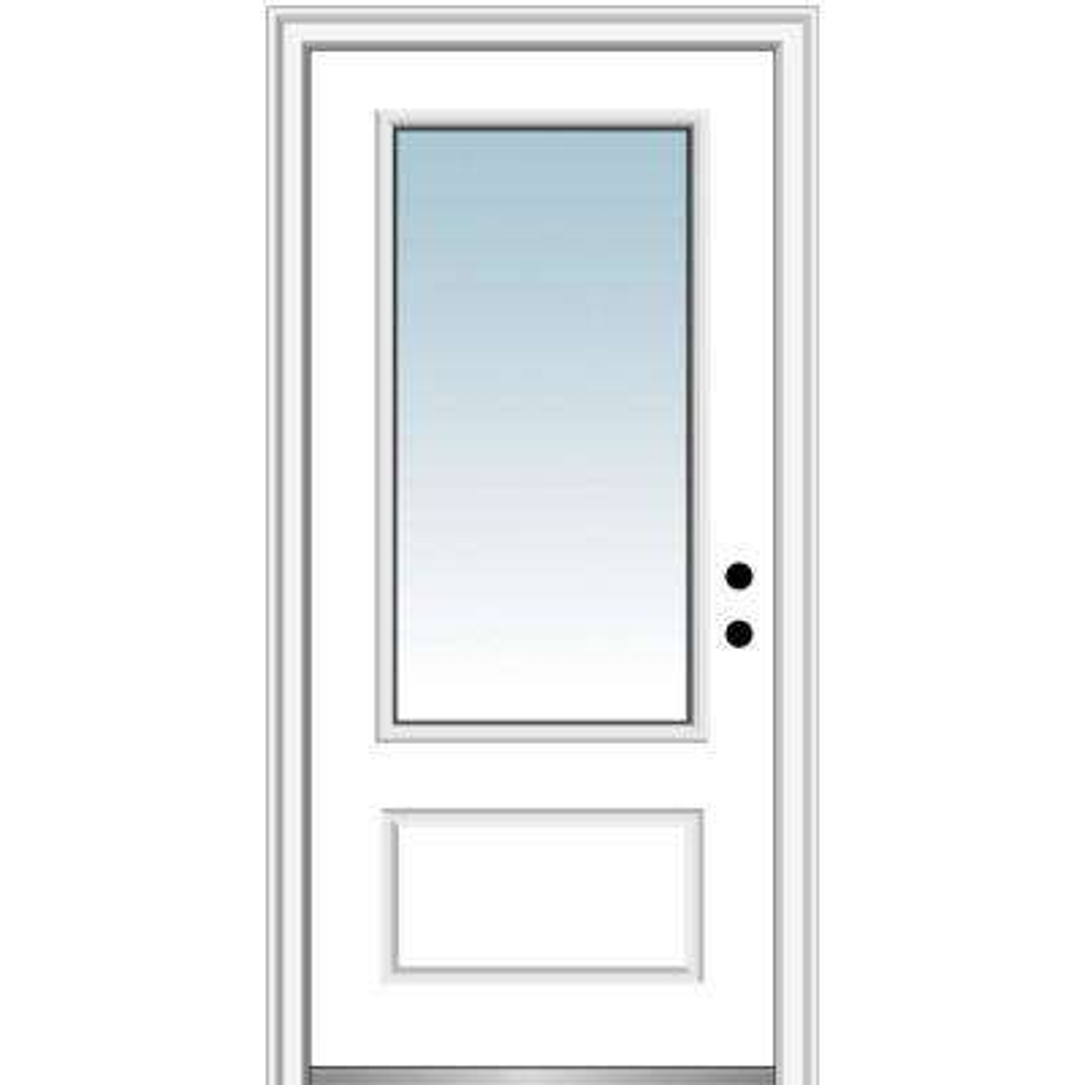 36 in. x 80 in. Left-Hand Inswing 3/4-Lite Clear 1-Panel Classic Primed Fiberglass Smooth Prehung Front Door