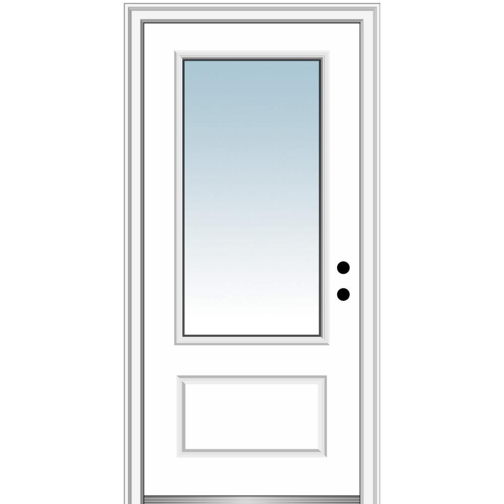 MMI Door 36 in. x 80 in. Left-Hand Inswing 3/4-Lite Clear 1-Panel Primed Fiberglass Smooth Prehung Front Door on 6-9/16 in. Frame