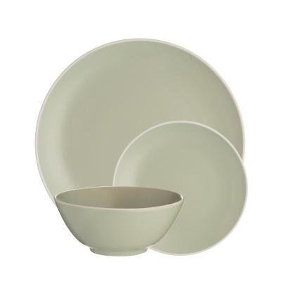 Classic 12-Piece Green Stoneware Dinnerware Set