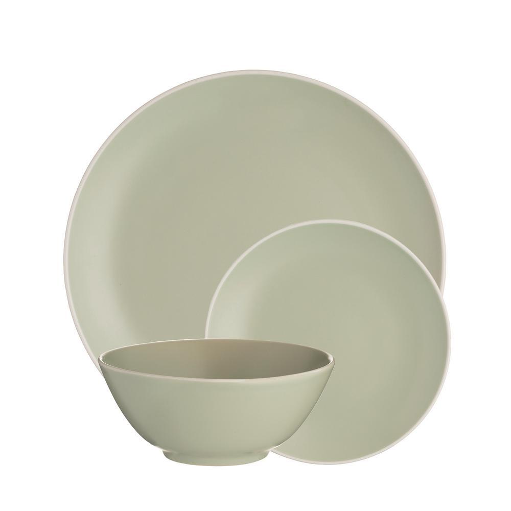 Classic 12-Piece Green Stoneware Dinnerware Set