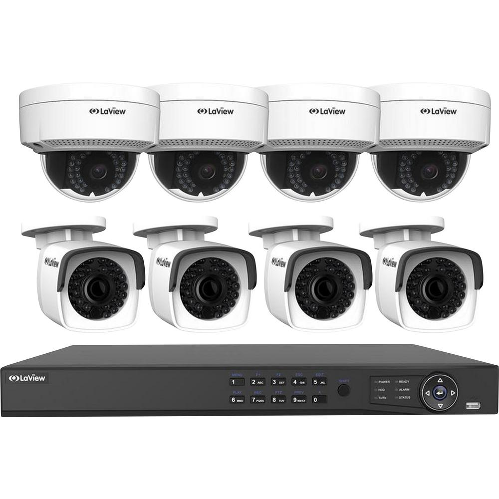 LaView 8-Channel 4MP Full HD 4TB Surveillance Systems Dome Cameras 100 ft. Night Vision Free Remote Viewing