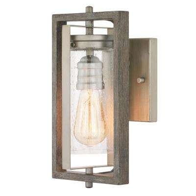 Palermo Grove 1-Light Antique Nickel Outdoor Wall Lantern Sconce with Weathered Gray Wood Accents