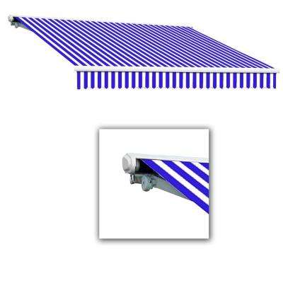 8 ft. Galveston Semi-Cassette Right Motor with Remote Retractable Awning (84 in. Projection) in Blue/White