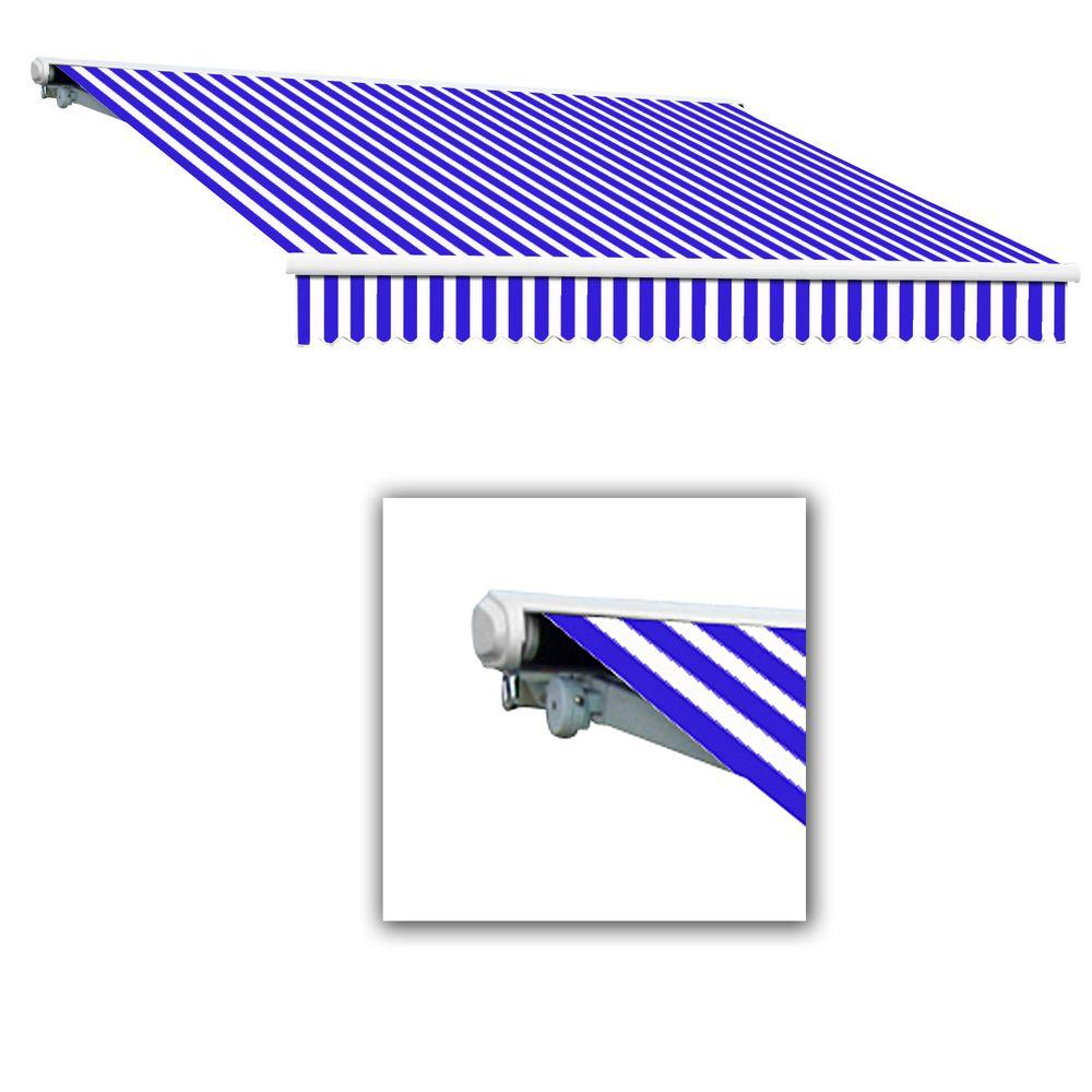 AWNTECH 24 ft. Galveston Semi-Cassette Manual Retractable Awning (120 in. Projection) in Blue/White