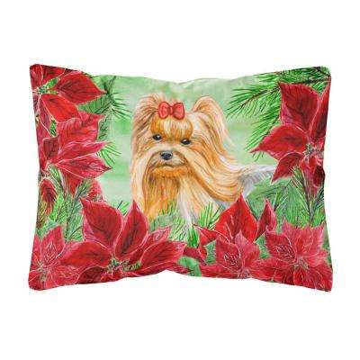 12 in. x 16 in. Multi-Color Lumbar Outdoor Throw Pillow Yorkshire Terrier Poinsettas