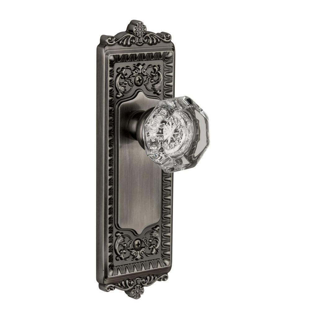 Grandeur Windsor Antique Pewter Plate with Privacy Chambord Crystal Knob