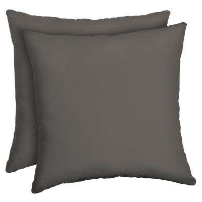 Slate Canvas Texture Square Outdoor Throw Pillow (2-Pack)
