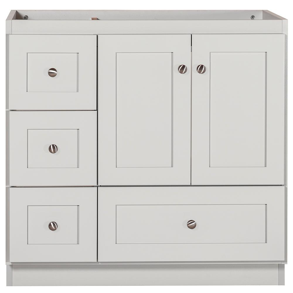 Simplicity by Strasser Shaker 36 in. W x 21 in. D x 34.5 in. H Bath Vanity Cabinet Only with Left Drawers in Dewy Morning