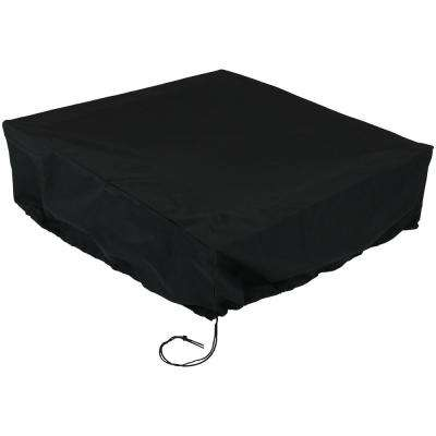 48 in. x 18 in. Black Heavy-Duty Square Black Fire Pit Cover
