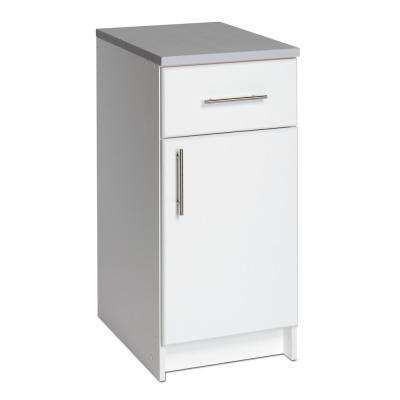 Elite White 36 in. H x 16 in. W x 24 in. D Base Cabinet with 1 in. Thick Durable Melamine Work Surface
