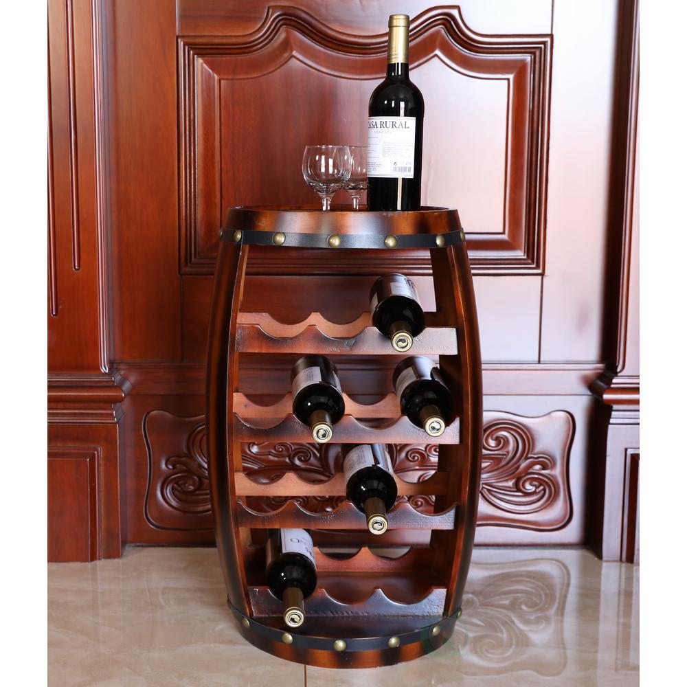 Vintiquewise Wooden Barrel Shaped 14-Bottle Wine Rack