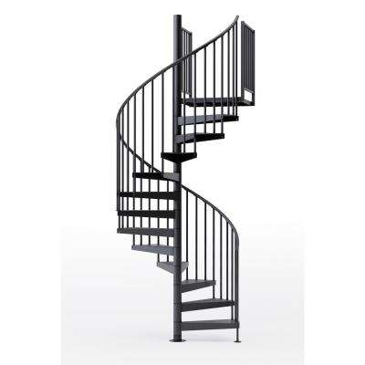Condor Black 60 in. (5 ft. 0 in.) Wide 11 Treads with Two 36 in. H Platform Rails Spiral Stair Kit