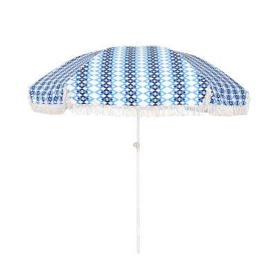 6.5 ft. Fiberglass Market Portable Beach Patio Umbrella in Multi-Color
