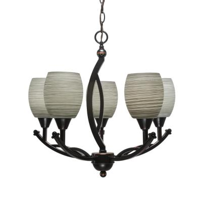5-Light Black Copper Chandelier with 5 in. Gray Linen Glass