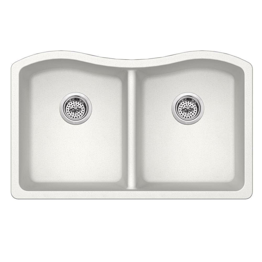 Cahaba Undermount Quartz 32-1/2 in. 50/50 Double Bowl Kitchen Sink in Alpine White