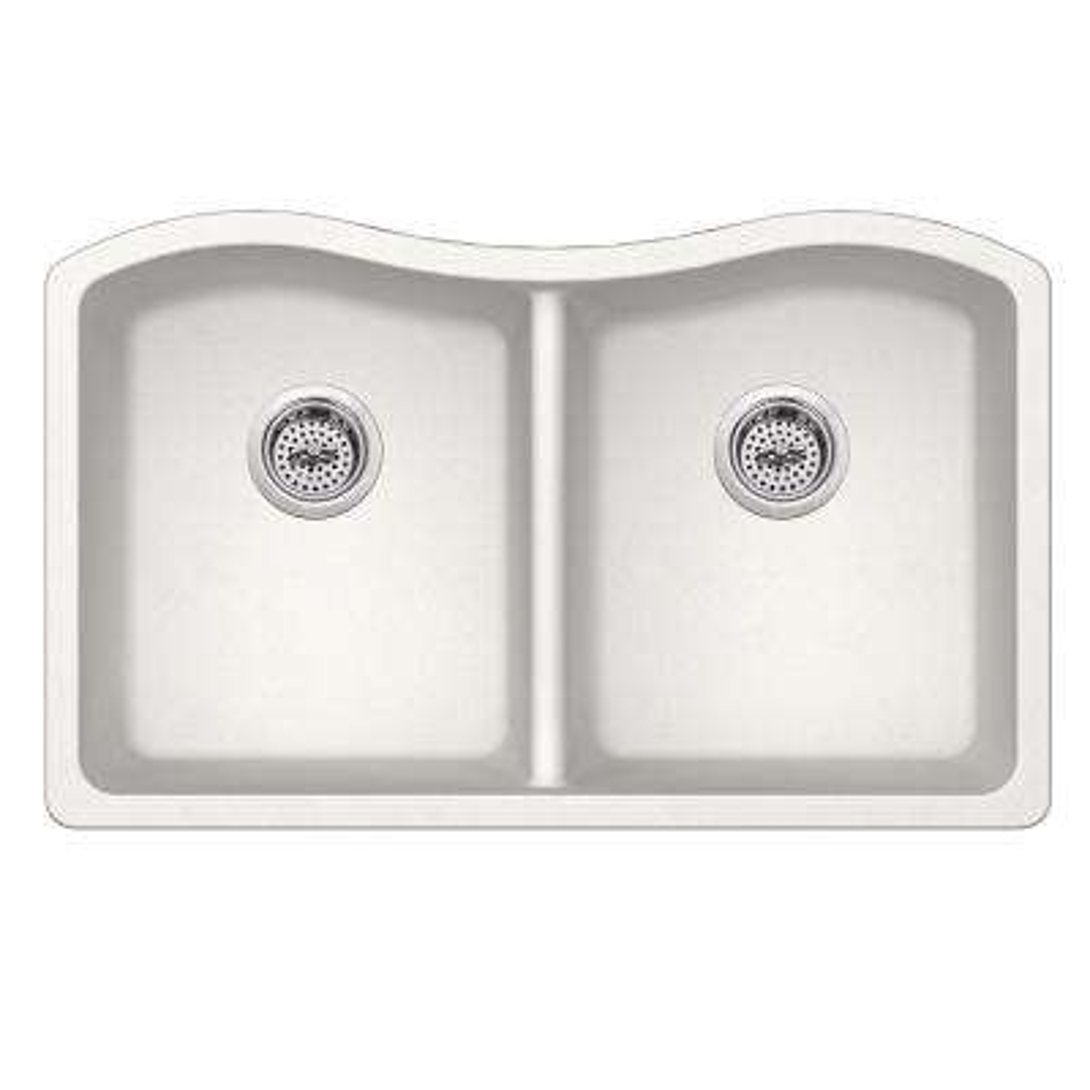 Undermount Quartz 32-1/2 in. 50/50 Double Bowl Kitchen Sink in Alpine White