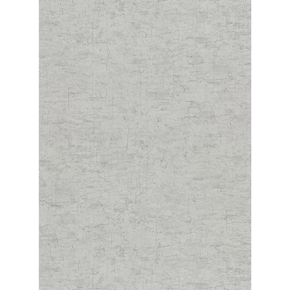 60.8 sq. ft. Pembroke Grey Faux Plaster Wallpaper