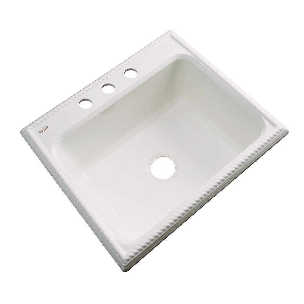 Thermocast Wentworth Drop-In Acrylic 25 in. 3-Hole Single Bowl Kitchen Sink in Almond