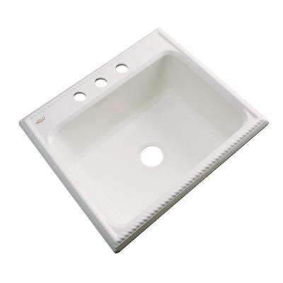 Wentworth Drop-In Acrylic 25 in. 3-Hole Single Bowl Kitchen Sink in Almond