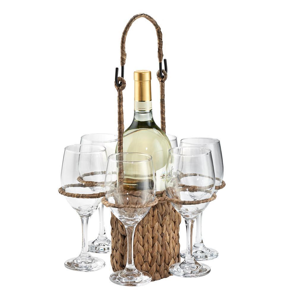 Garden Terrace Wine Tote, with 6-Wine Glasses 14 oz. 12 in. Dia x 17 in. H