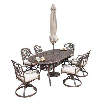 Floral Blossom Taupe 7-Piece Patio Dining Set with Beige Cushions and Umbrella