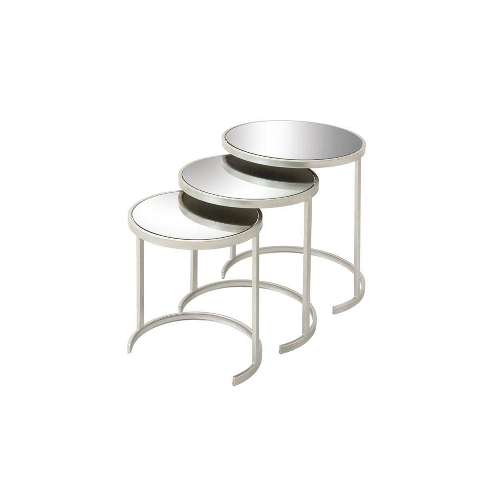 Litton Lane Metallic Silver Round Nesting Accent Tables With Mirrored Tops Set Of 3