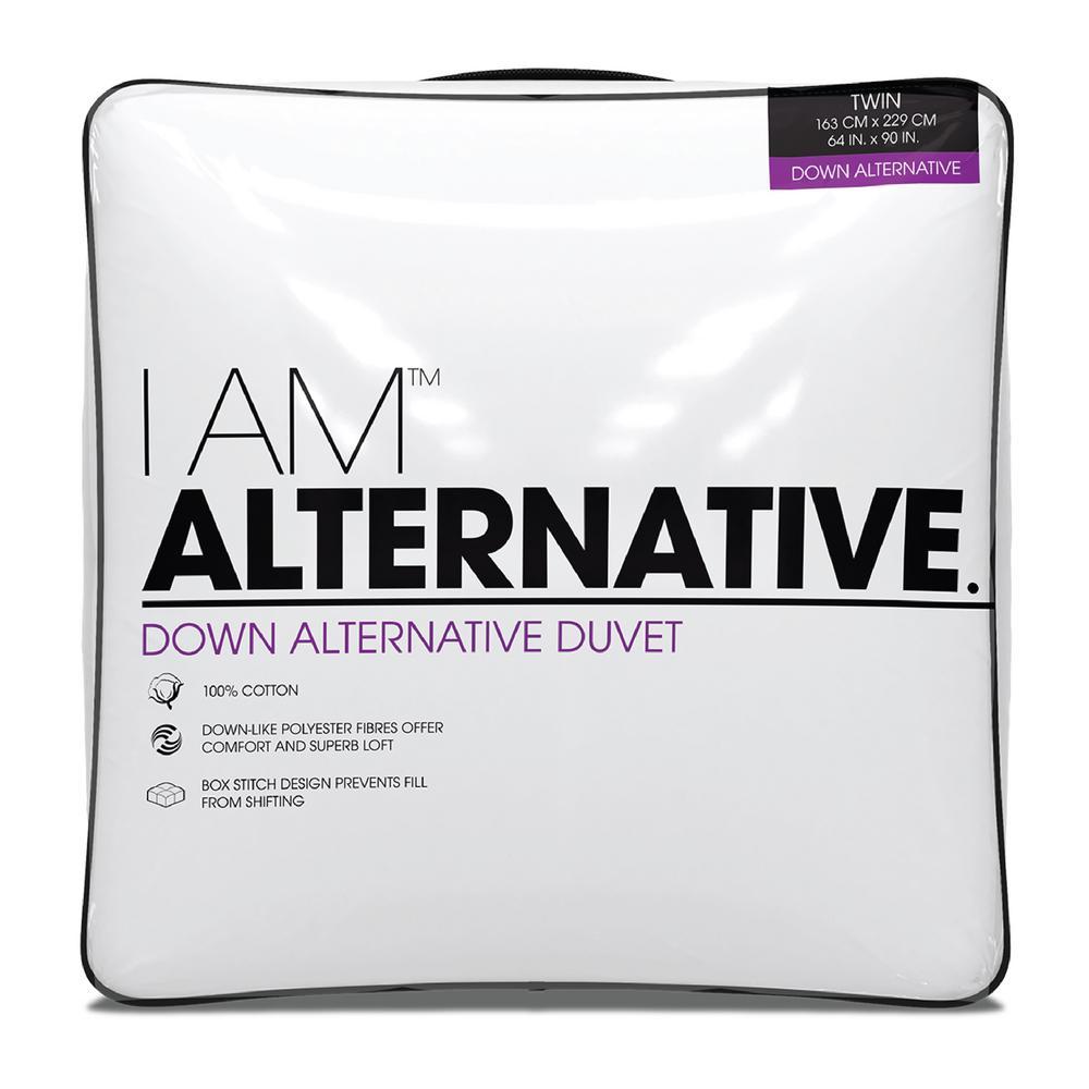 I AM 100% Cotton 233-Thread Count Down Alternative White King Comforter