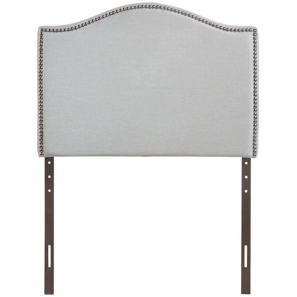 Curl Sky Gray Twin Nailhead Upholstered Headboard