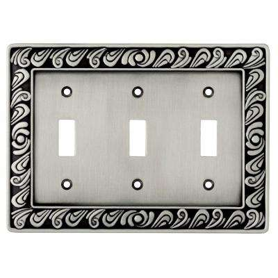 Paisley Decorative Triple Switch Plate, Brushed Satin Pewter