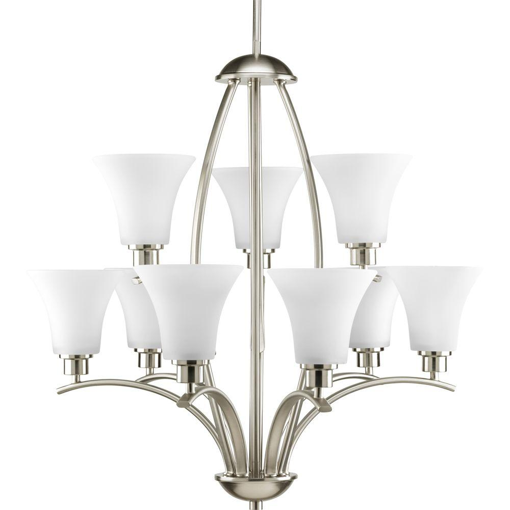 Progress Lighting Joy Collection 9 Light Brushed Nickel Chandelier With Etched Gl Shade