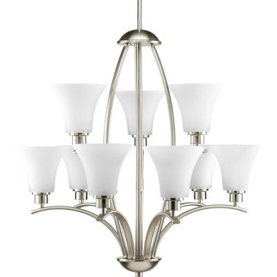 Joy Collection 9-Light Brushed Nickel Chandelier with Etched Glass Shade