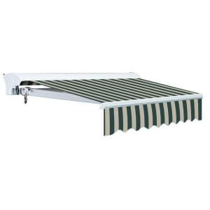 10 ft. Luxury L Series Semi-Cassette Electric w/ Remote Retractable Patio Awning (98 in. Projection) Green/Beige Stripes